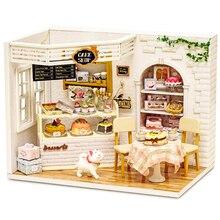 인형 집 가구 Diy 미니어처 먼지 커버 3D 나무 Miniaturas 인형 집 어린이를위한 장난감 생일 선물 케이크 일기 H14