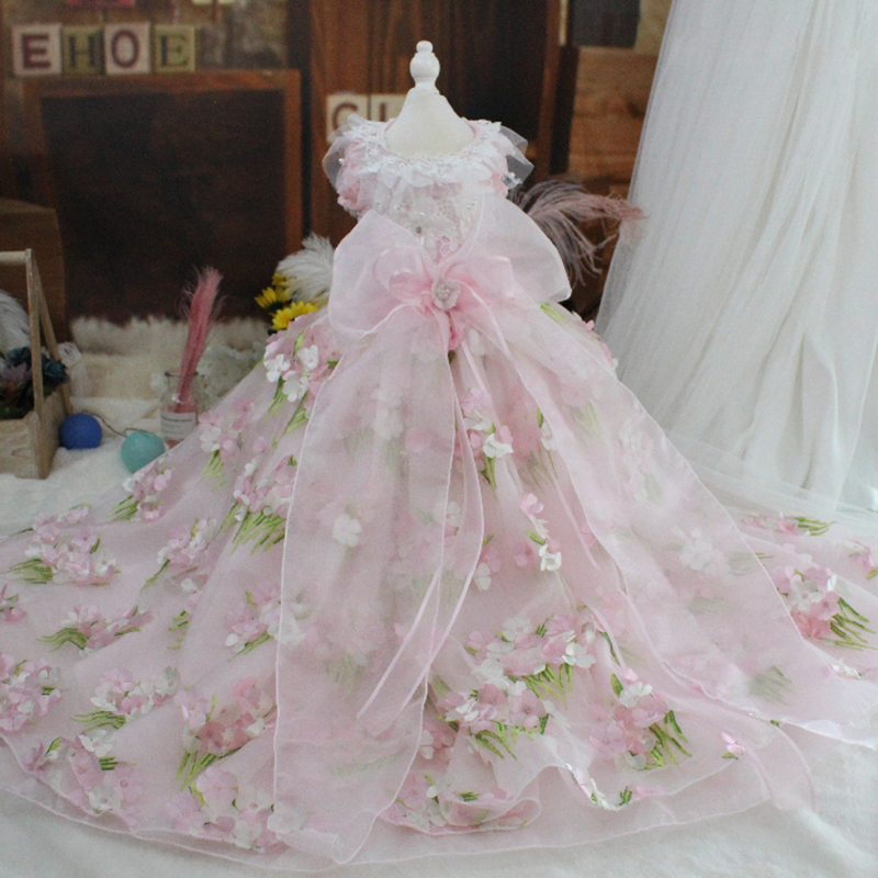 OnnPnnQ Pet Dog Dress Princess Party Pink Lace Tutu Dresses Trailing Wedding Dresses Printed Luxury Dog Clothes Chihuahua PoodleOnnPnnQ Pet Dog Dress Princess Party Pink Lace Tutu Dresses Trailing Wedding Dresses Printed Luxury Dog Clothes Chihuahua Poodle