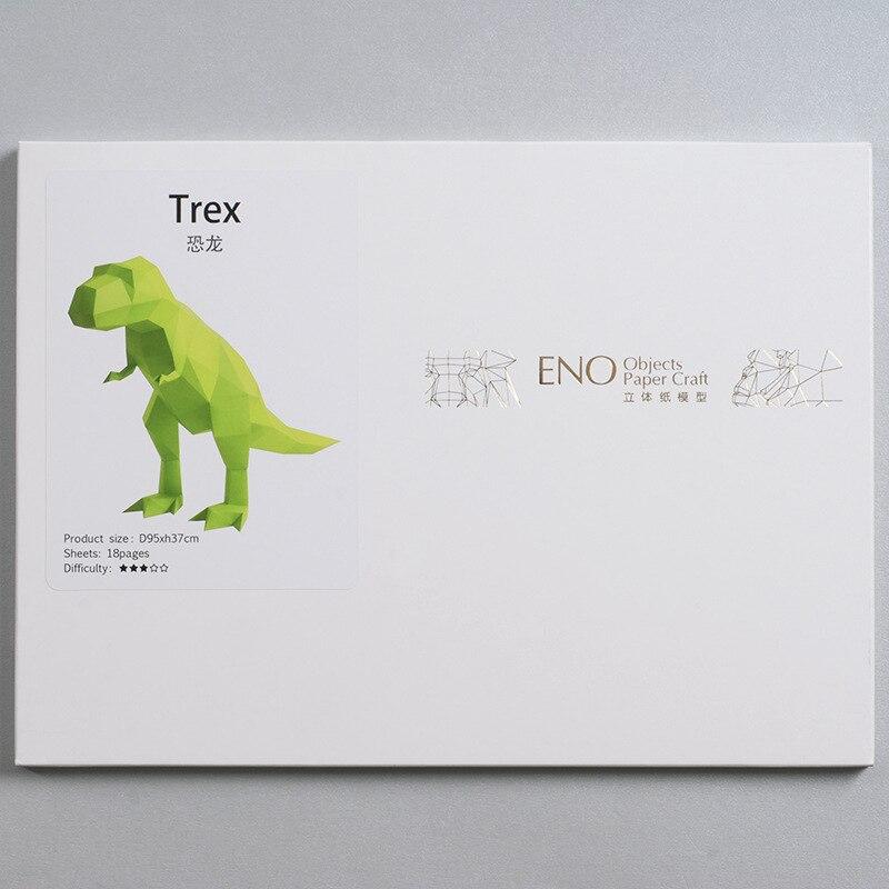 3d Paper Model Green Dinosaur Paper Craft Animal Home Decor