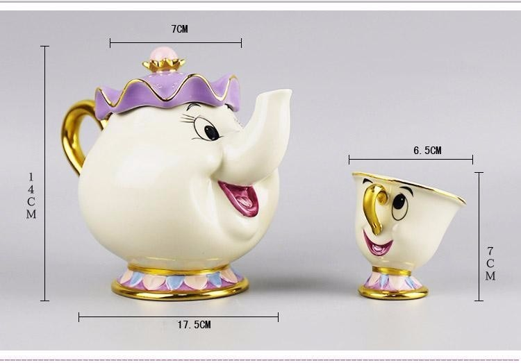 1 Pot 2 Cups 1 Sugar Pot Suits Classical Cartoon Beauty And The Beast Mrs Potts 18K Goldplated Mug Coffeware Sets fast shipping in Coffeeware Sets from Home Garden