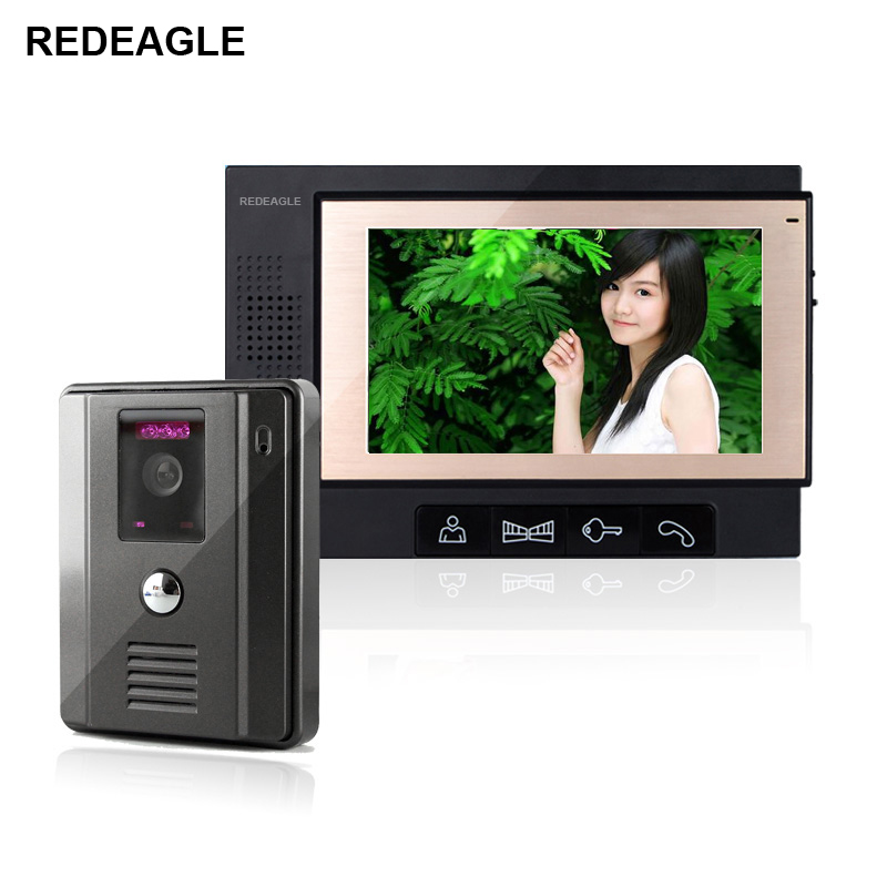 REDEAGLE Home 7 Inch TFT LCD Screen Color Video Door Phone Doorbell Intercom System 940nm IR Night Vision Camera 7 tft lcd color video doorphone doorbell intercom system with ir camera night vision for villa home apartment