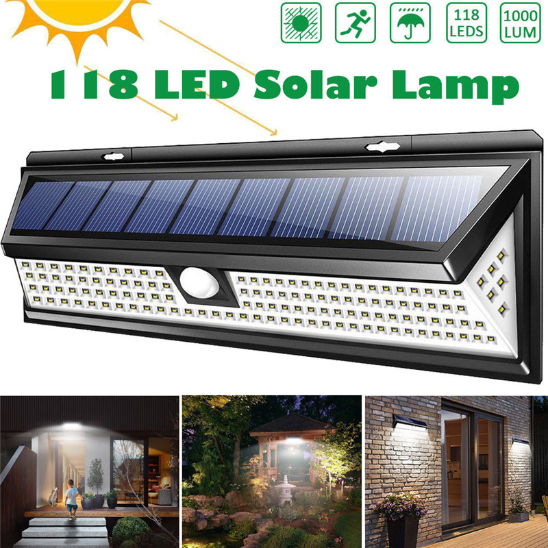 118 LED 1000LM étanche PIR capteur de mouvement solaire jardin lumière extérieure LED lampe solaire 3 Modes sécurité piscine porte éclairage solaire