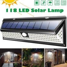 118 LED 1000LM 3 모드 정원 태양 LED 조명 야외 태양 램프 모션 센서 270 학위 방수 IP65 태양 보안 빛