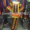 2015 Moda Mujeres Africanas Bazin Riche de Rayas Diseño Kaftan Estilo de Alta Calidad 100% algodón material Especial 1/2 mangas MS61