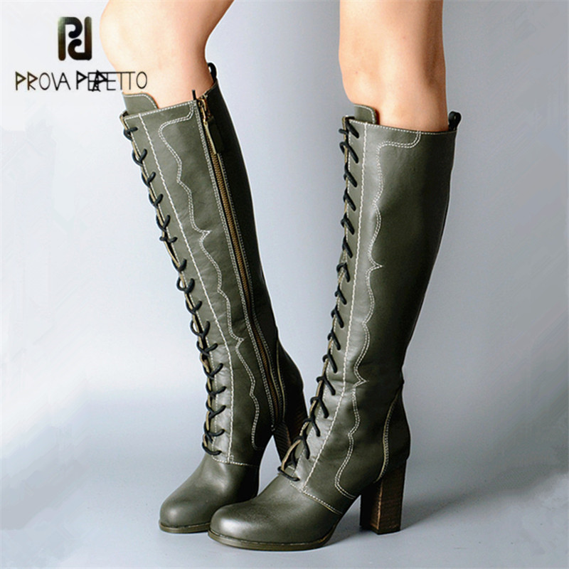 Prova Perfetto Green Retro Women Knee High Boots Female Genuine Leather High Boots Lace Up Platform High Heel Rubber Botas
