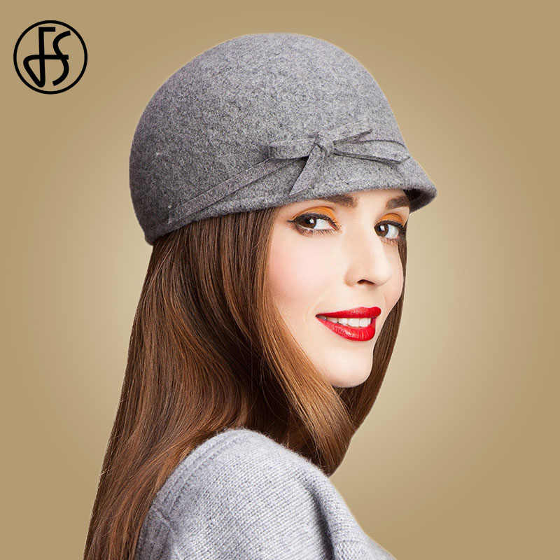 525191032b7 FS Vintage 100% Wool Fedora Floppy Bowknot Winter Felt Hats For Women Grey  Black Navy