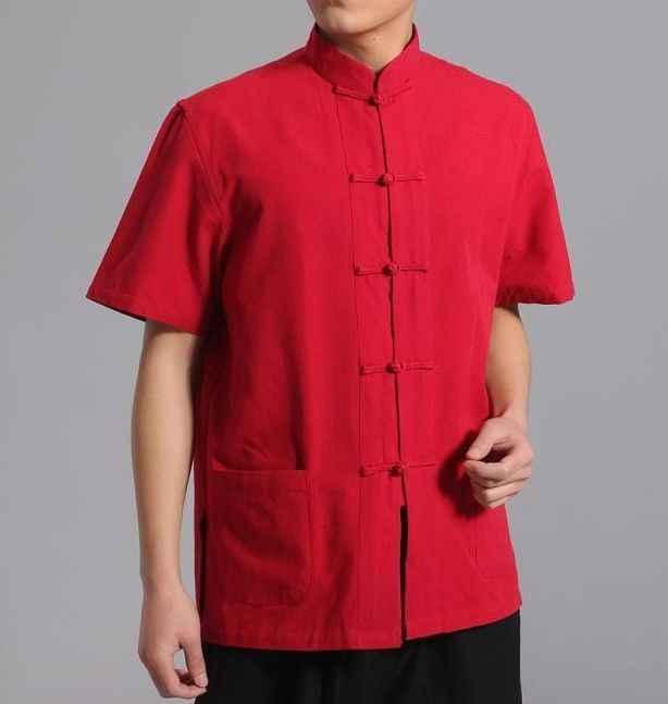 12 色純粋な綿の男性ショア袖シャツレイ瞑想服夏武道カンフー太極拳の制服男性唐スーツ