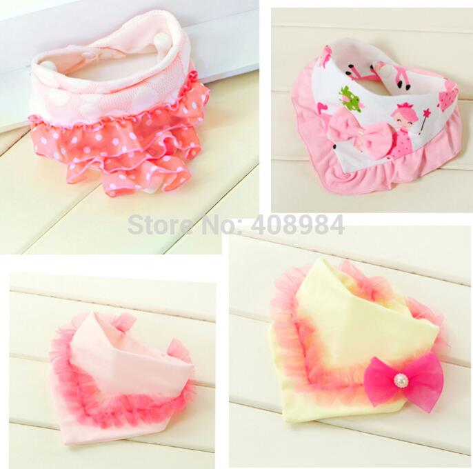 Cute Head Scarf Animal mønster Bowknot Lace Trim Baby Kid Bomuld Triangle Toddler Bandana Bibs Saliva Håndklæde 20% Off