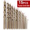 15PCS Set Drill High Speed Steel Twist Drill Bits Woodwork Drilling Tools High Speed Steel Cobalt
