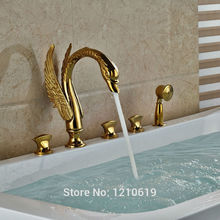 gold swan bathtub faucet. uythner newly luxury swan bathroom shower faucet set w/ hand sprayer gold plate bathtub mixer tap deck-mount