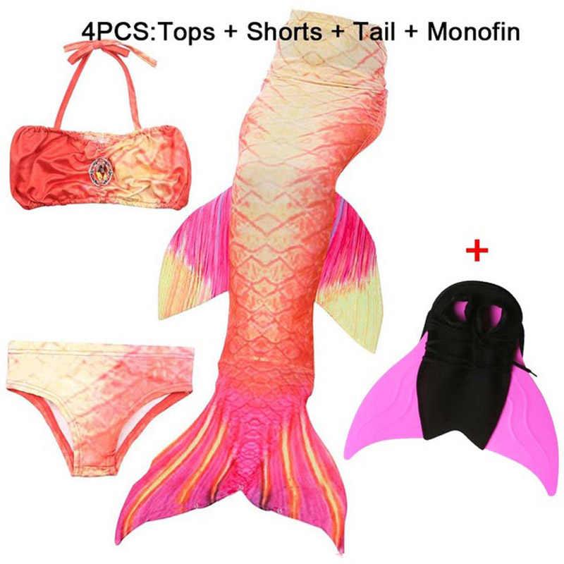 Dzieci Ariel mały ogon syreny s na kostium kąpielowy ogon syreny z Monofin Cosplay strój kąpielowy dla dziewczyn dzieci strój kąpielowy