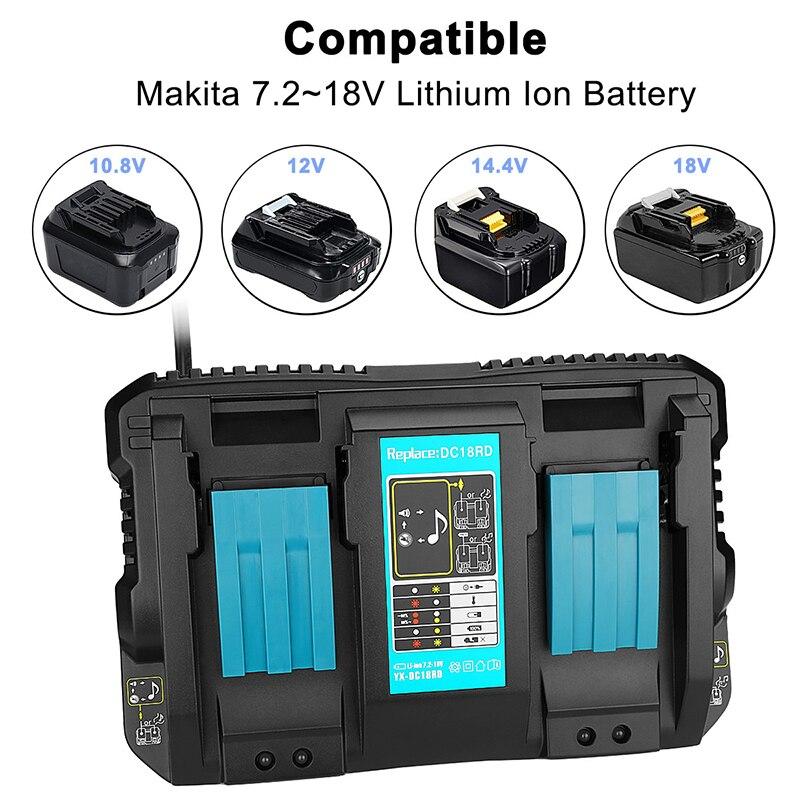 Prise EU 4A pour Makita 18 V DC18RD chargeur de batterie 10.8 V 12 V 14.4 V 18 V LI-ION BL1415 BL1420 outil électrique de batterie Rechargeable