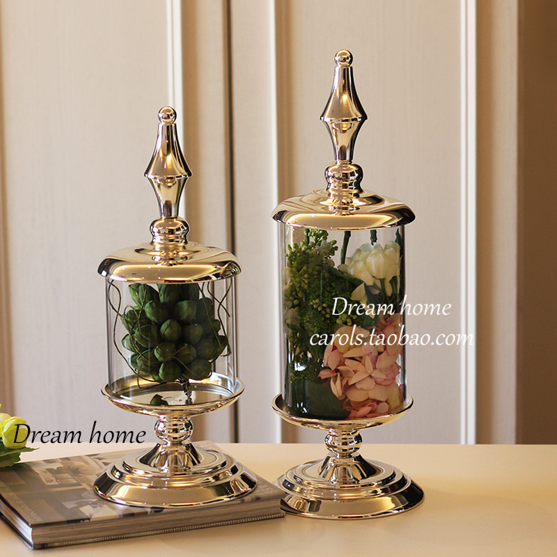 50cm high glass candy jar European high quality metal storage can wedding banquet table decoration container