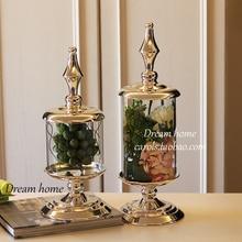 50 см высоком стеклянную банку конфеты в европейском стиле высокого качества из металла хранения может Свадебный декор для банкетного стола контейнер пищевая бутылка для хранения