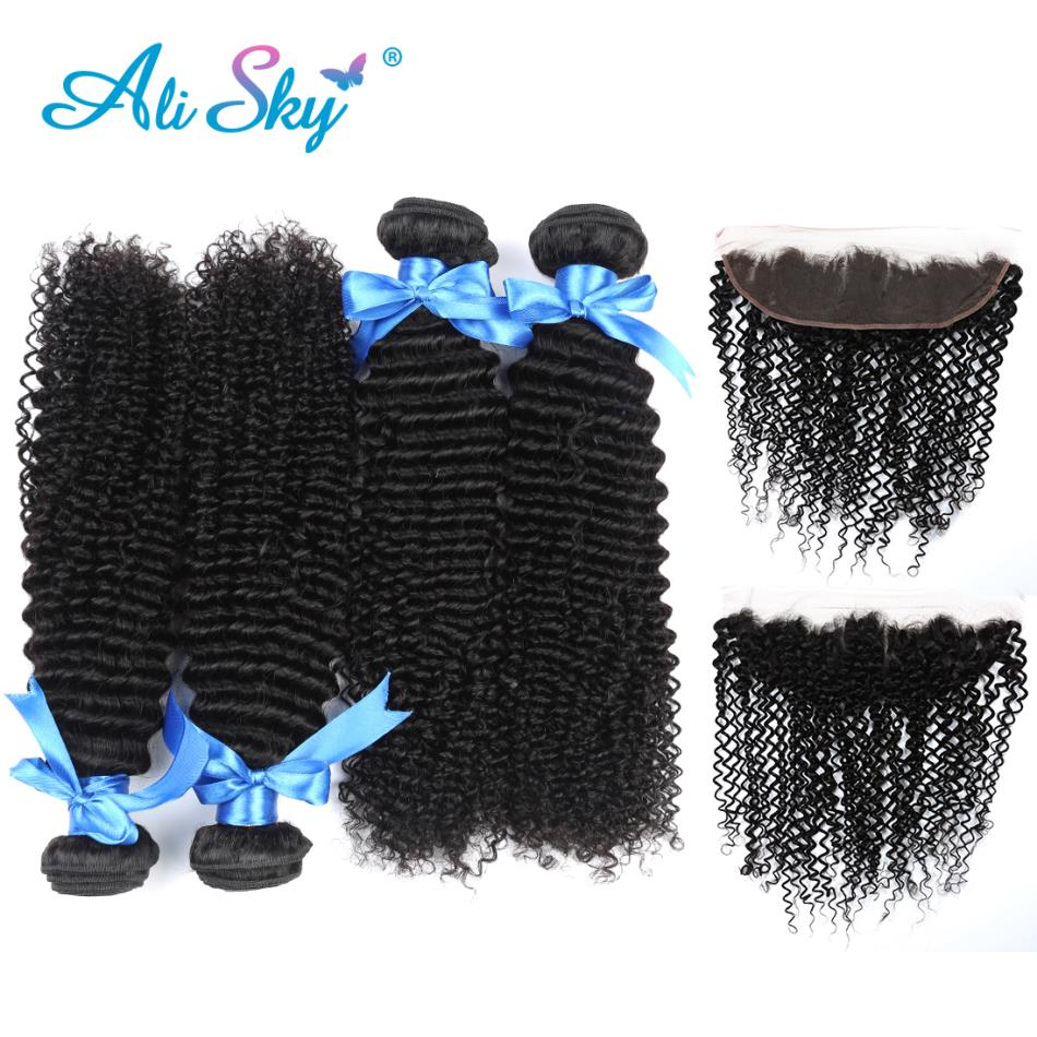 Diligent Afo Kinky Curly Ali Sky Indian Non-remy Hair 4bundles With Lace Frontal13*4 Plucked Natural Hairline Baby Hair 100% Human Hair 3/4 Bundles With Closure
