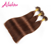 Alishow U Tip Remy Hair Silky Straight Bonded Human Hair Extension 100g 4 Medium Brown European
