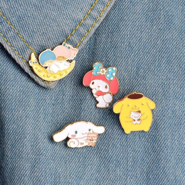 Brand new 4pcs/set Kawaii Bunny Puppy My Melody Enamel Pins Collar Hat Lapel  IX11