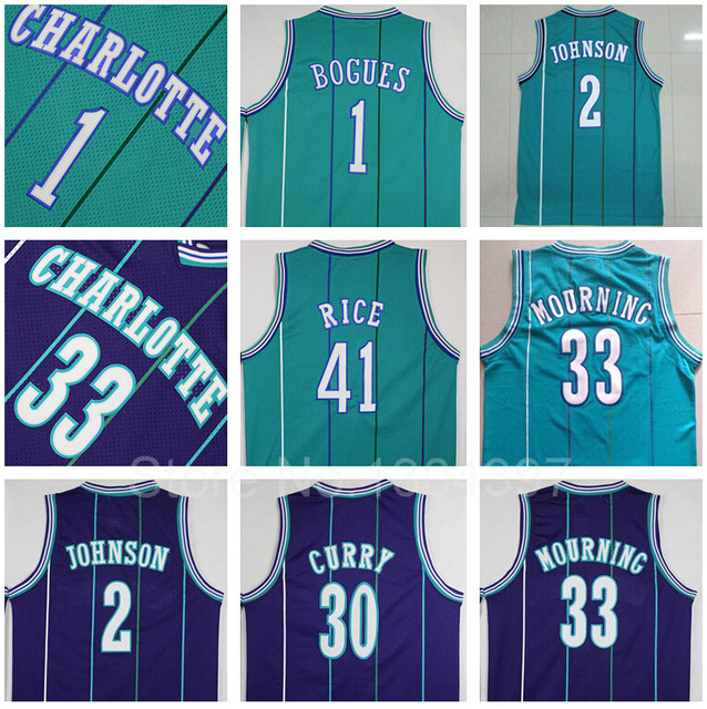 7416b8dac Charlotte Hornets Jersey Throwback Basketball 1 Tyrone Muggsy Bogues 2  Larry Johnson Dell Curry 33 Alonzo Mourning 41 Glen Rice
