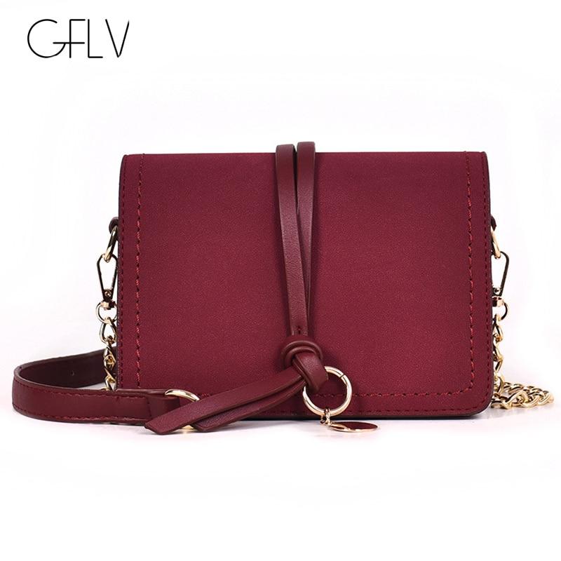 GFLV marque Vintage gommage cuir rabat carré sacs à main femmes noeud et anneau rond conception Messenger sac chaînes pendentif chaînes sacs