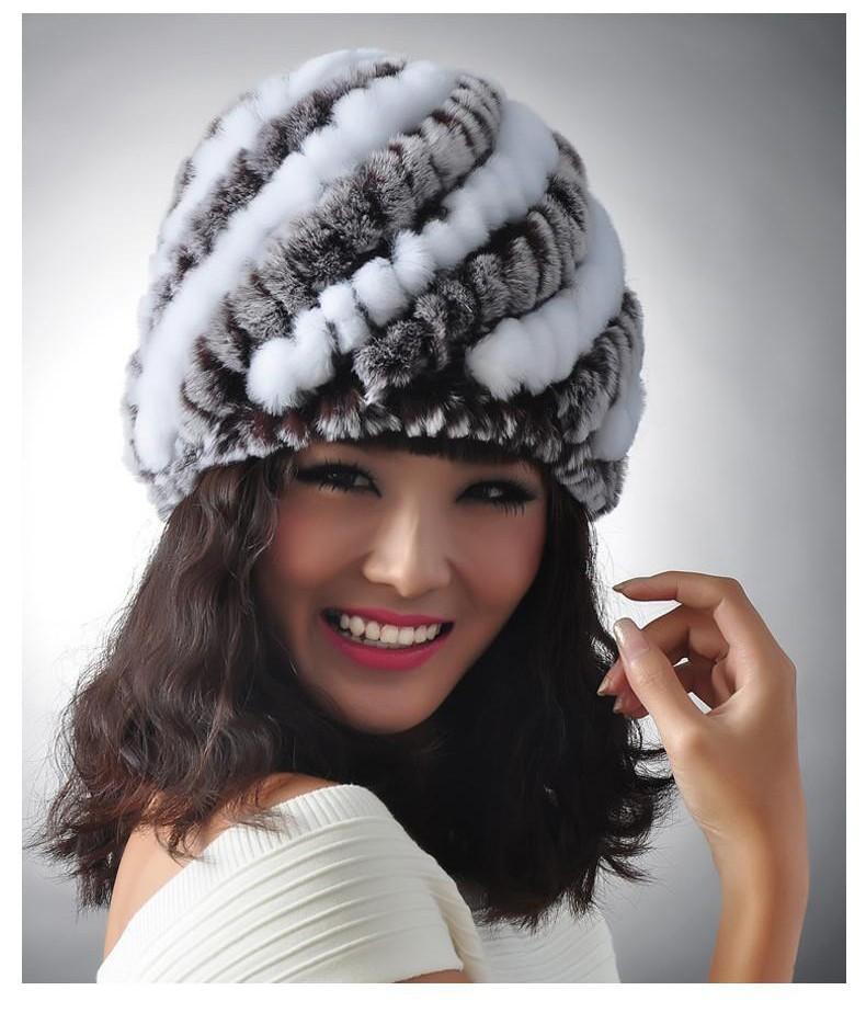 76401d6e340 New Knitted genuine natural REX rabbit fur hat cap headgear headdress women  warmer skullies Wholesale