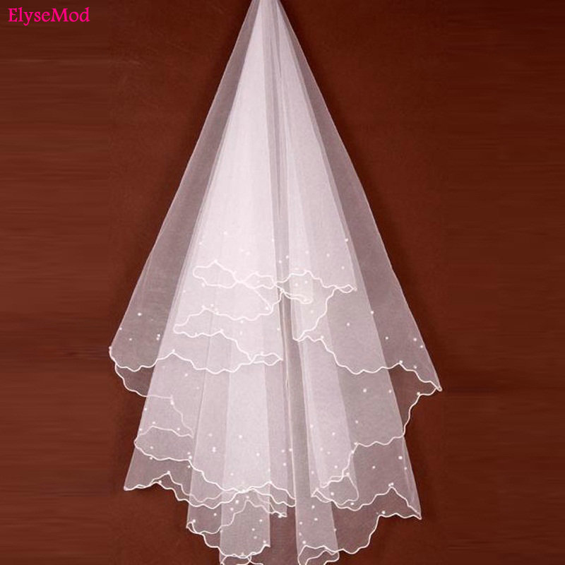 Romad Simple Tulle White Ivory Two Layers Wedding Veils Ribbon Edge Comb Cheap Wedding Accessories Short Bridal Veil R4 Wedding Accessories