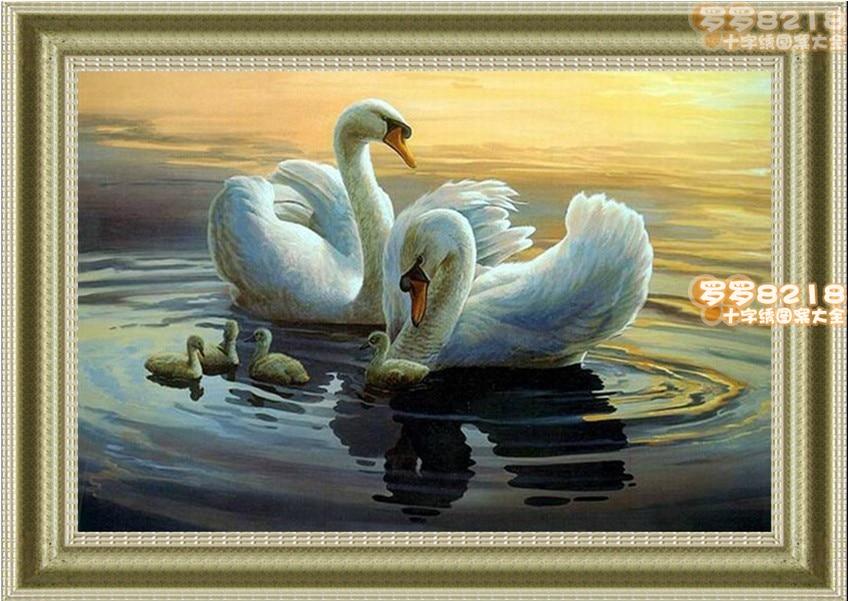 CS-822 counted cross stitch kit swan family swans.jpg