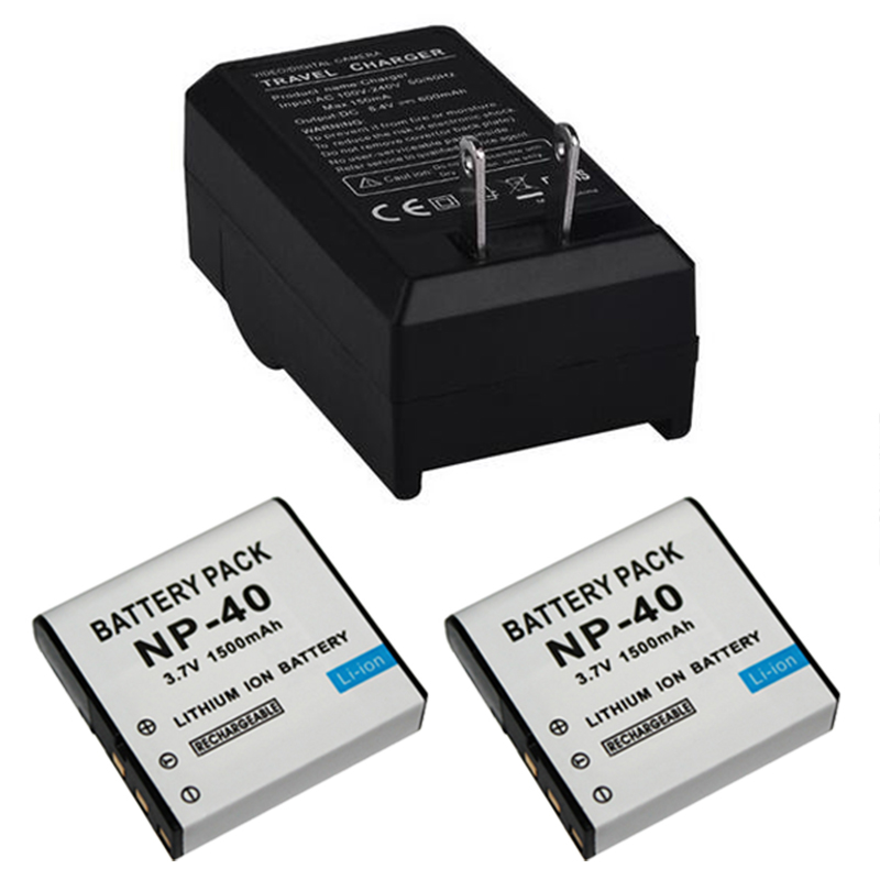 2pcs 3 7V 1500mAh NP 40 NP40 Camera Battery Pack Charger for Casio EX Z30 Z40