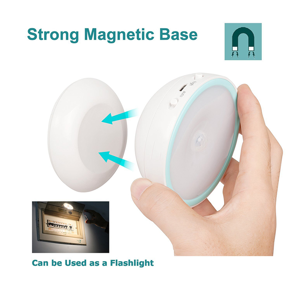Rechargeable AAA USB LED Motion Sensor Night Light 360 Rotating Toilet WC Kitchen Bedroom Cabinet Wall