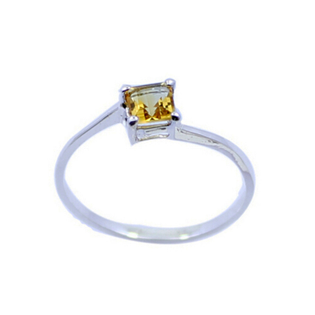Simple classic gemstone ring 4mm*4mm natural citrine ring solid 925 sterling silver citrine engagement ring for girlfriend