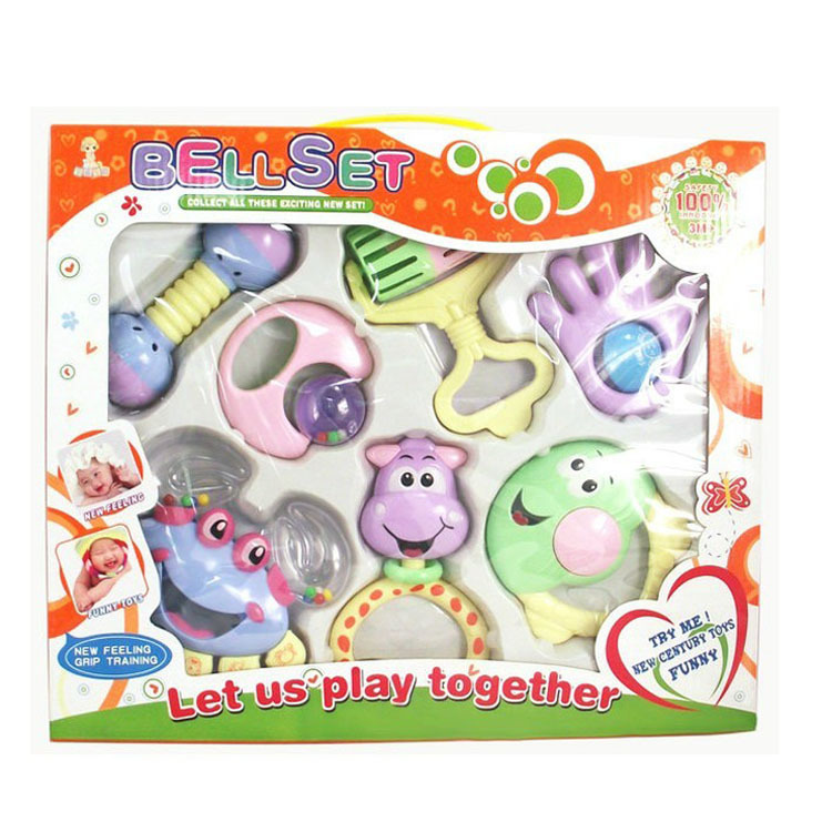 7 PCS Mixed in font b Box b font Baby Rattles Teether Set Early Development Toys