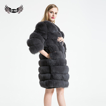 BFFUR Detachable Fox Fur Coat 100% Real Fox Fur Coat Length 90 Sleeve Length 50 Zipper Removable Women Natural Fur Coat BF-C0304
