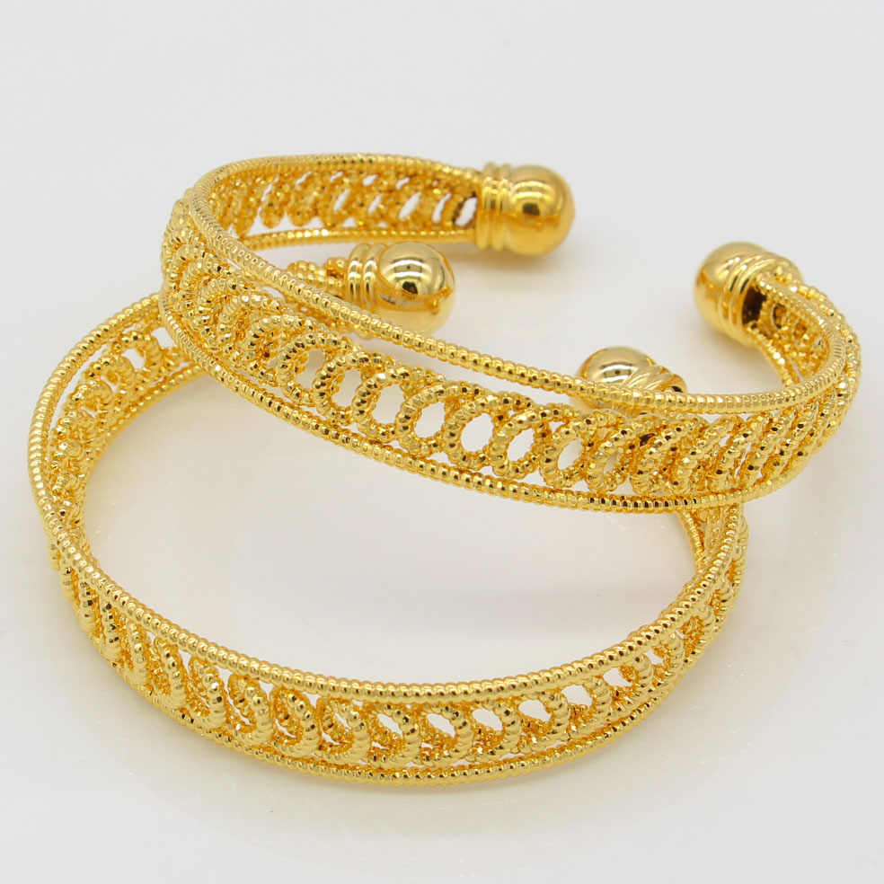 Width 12mm Dubai Gold Bangles Women Men Gold Color Bangles&Bracelets African/Ethiopian/Arab/Kenya/Middle East Wedding Gifts