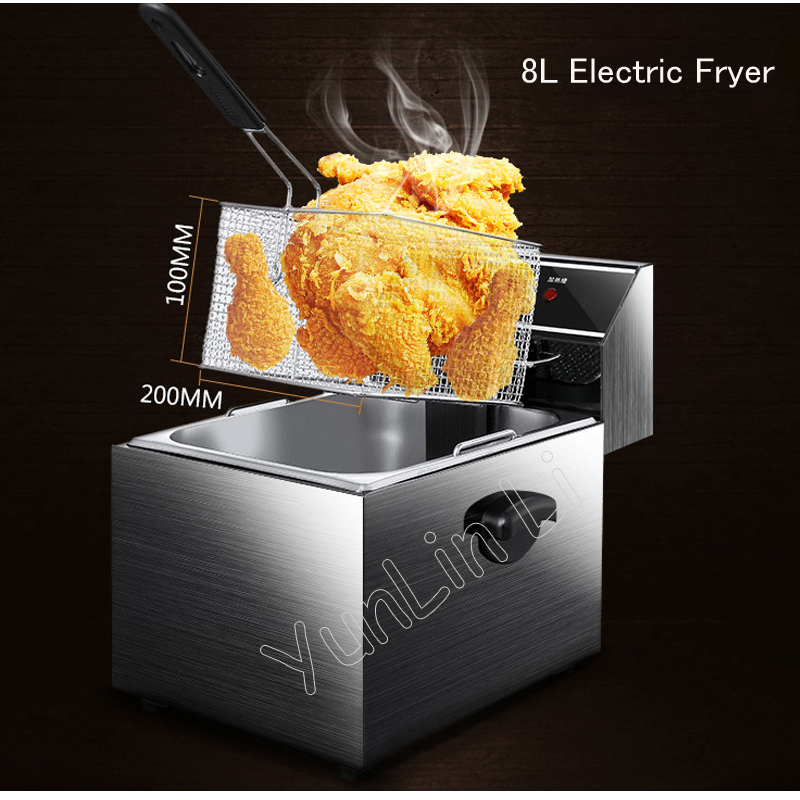 8L Electric Fryer with stainless bucket High power Fried Chicken /French Fries machine Electric Deep Fryers thick single cylinder electric fryer commercial electric fryer fried chicken oven fries fried squid machine dedicated