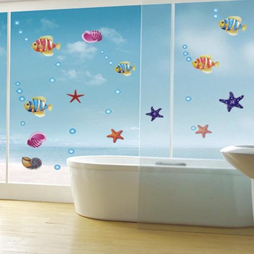 spedizione gratuita blu oceano cartone animato per bambini in camera adesivi murali bagno vetro decorativo pesce