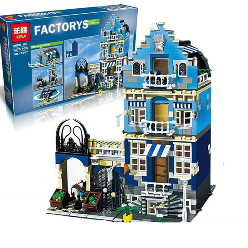 IN STOCK DHL Lepin 15007 Factory City Street European Market Model Building Block Set Bricks Kits DIY Compatible 10190  trendyangel 15007