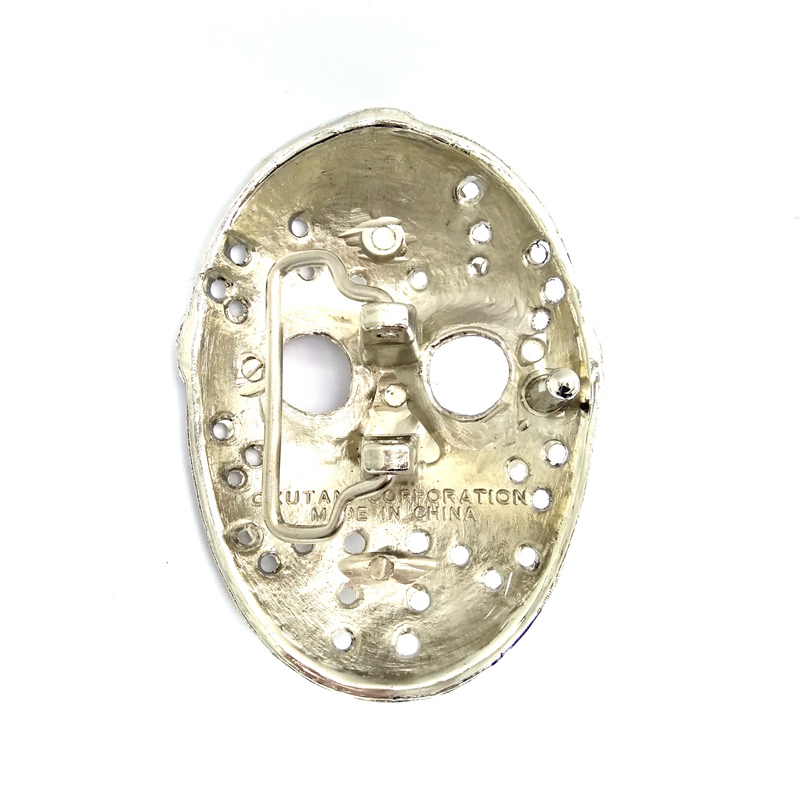 Drop shipping Friday the 13th jason voorhees silver mask 3D belt buckle high quality metal buckle for belt accessories