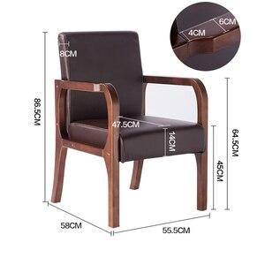 Image 5 - Luxe 100% hout moderne Vrijetijdsbesteding stoel met fauteuil hout eetkamerstoel Nordic retro sofa PU Lederen sofa Woonkamer Meubels