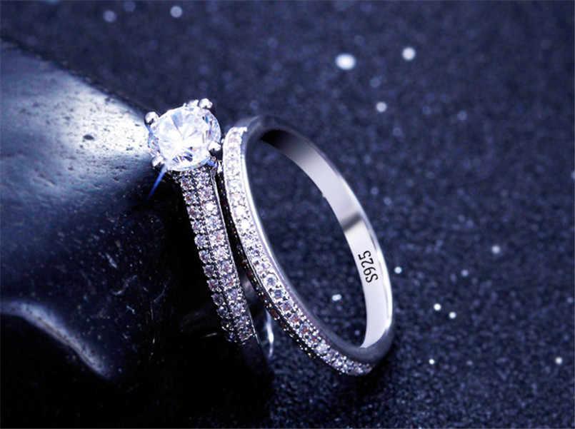 CC 925 แหวนเงินผู้หญิงการออกแบบที่เรียบง่ายคู่ STACKABLE แฟชั่นเครื่องประดับชุดเจ้าสาวงานแต่งงานแหวนหมั้นอุปกรณ์เสริม CC634