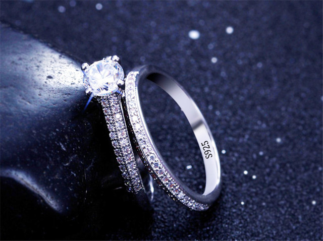 CC 925 Silver Rings For Women Simple Design Double Stackable Fashion Jewelry Bridal Sets Wedding Engagement Ring Accessory CC634 2