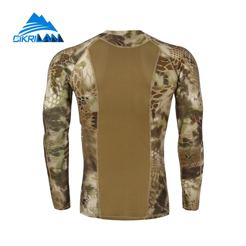 1eed922a535 Mens Camo Long Sleeve Quick Dry Fishing Tactical T shirt Men Combat Running  Tights Outdoor Hiking T Shirt Ciclismo Hunting Shirt-in Hiking T-shirts  from ...