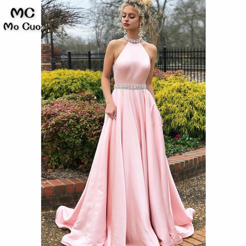 2018 Blush Pink Halter   Evening     Dresses   with Beaded Sweep Train Backless Hard Satin Formal   Evening   Party   Dress   for Women