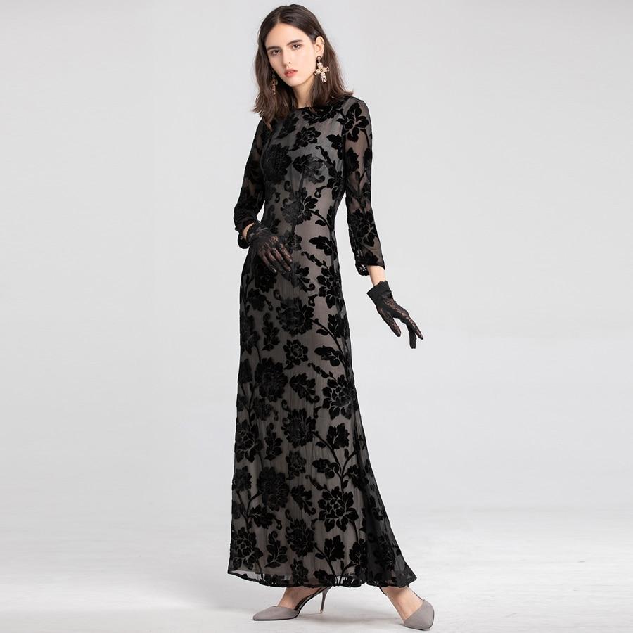 Automne 2019 Noir Parti À Femmes Robes Nouveau Aeleseen Longue Mode Printemps Robe Manches De Floral Broderie Longues Piste Maxi URUAYOI