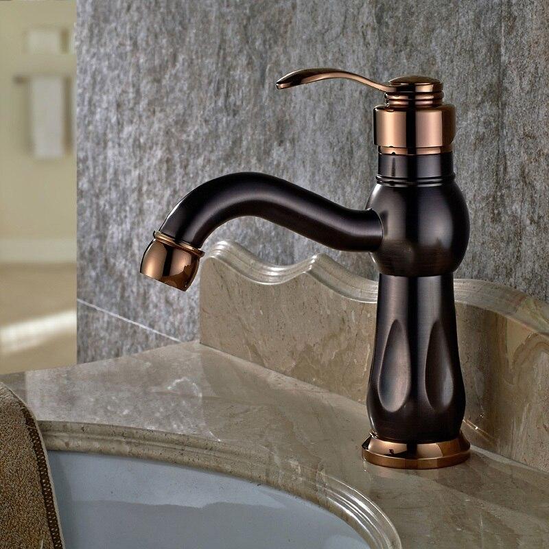 Nouveau robinet de lavabo classique en cuivre de Style européen rétro marron Rose or froid et chaud mélangeur d'eau robinet unique trou