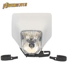 Белый мотоцикл фара Глава свет лампы обтекатель supermoto для KTM Husqvarna FE TE 2018 17 MX Байк эндуро