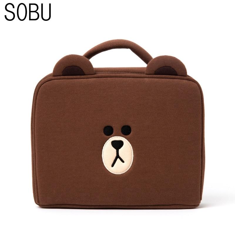 Fashion Travel Cartoon Cosmetic Bag Brown Bear