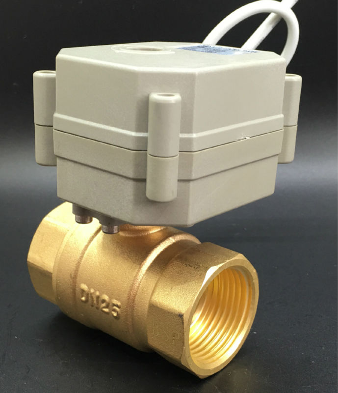 AC110-230V 2 Wires NPT/BSP 1'' Normally Open/Close Valve TF25-B2-C Electric Brass DN25 With Position Indicator On/Off 5sec CE