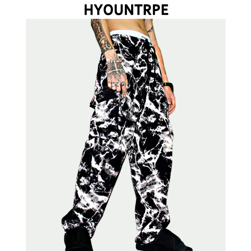 Mens Tie-dyed Printed Wide Legs Pants Casual Elastic Waist 2019 New Loose Trousers Hip Hop Ankle Drawstring Streetwear Trousers