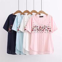 زائد الحجم الأزهار المطرزة قصيرة الأكمام السيدات تي شيرت 2018 الخامس الرقبة تي قمم القطن الصيف تي شيرت قميص فام 4xl