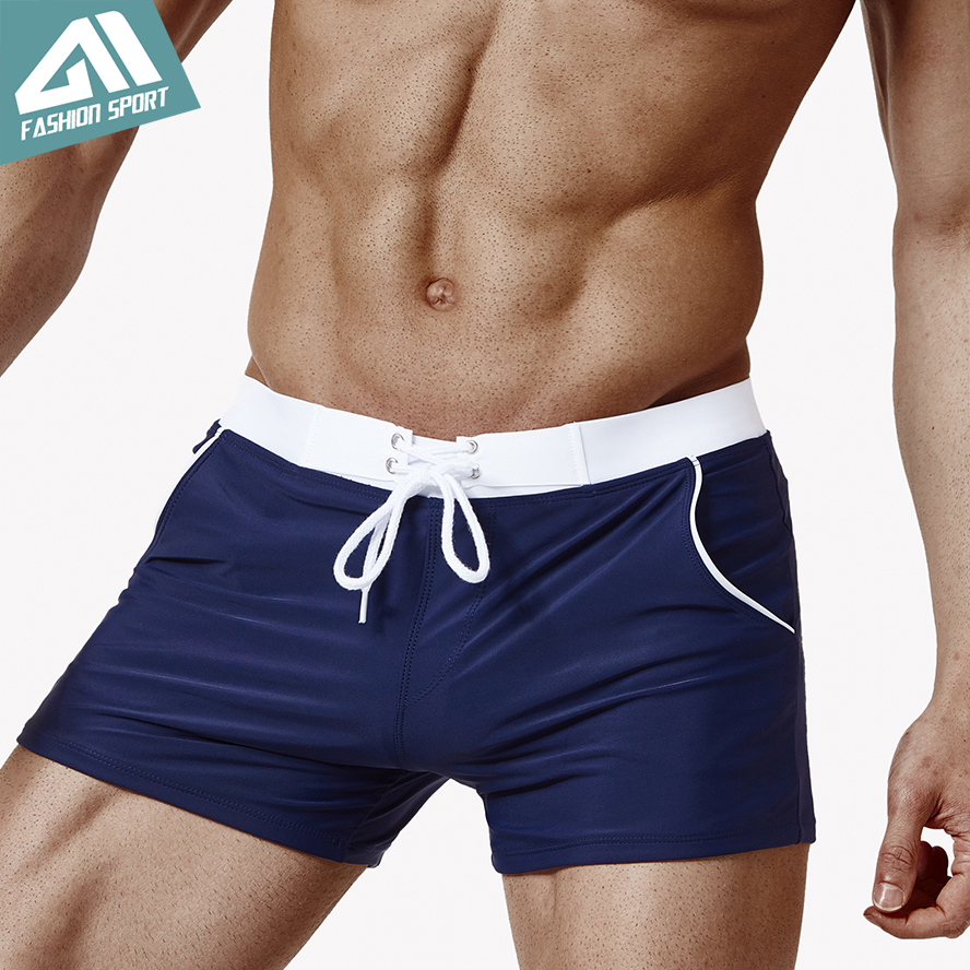 Aimpact Men's Swimwear 2018 New Elastic Waisted Swimming Shorts Beachwear Sport Summer Holiday Surf Mens Swimsuit AM6007
