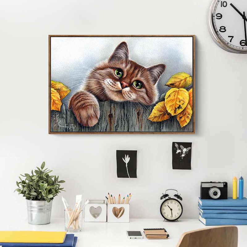 Meian наборы вышивки крестиком 14CT Кошка Животное дерево хлопок нить живопись DIY рукоделие DMC новый год домашний декор VS-0030